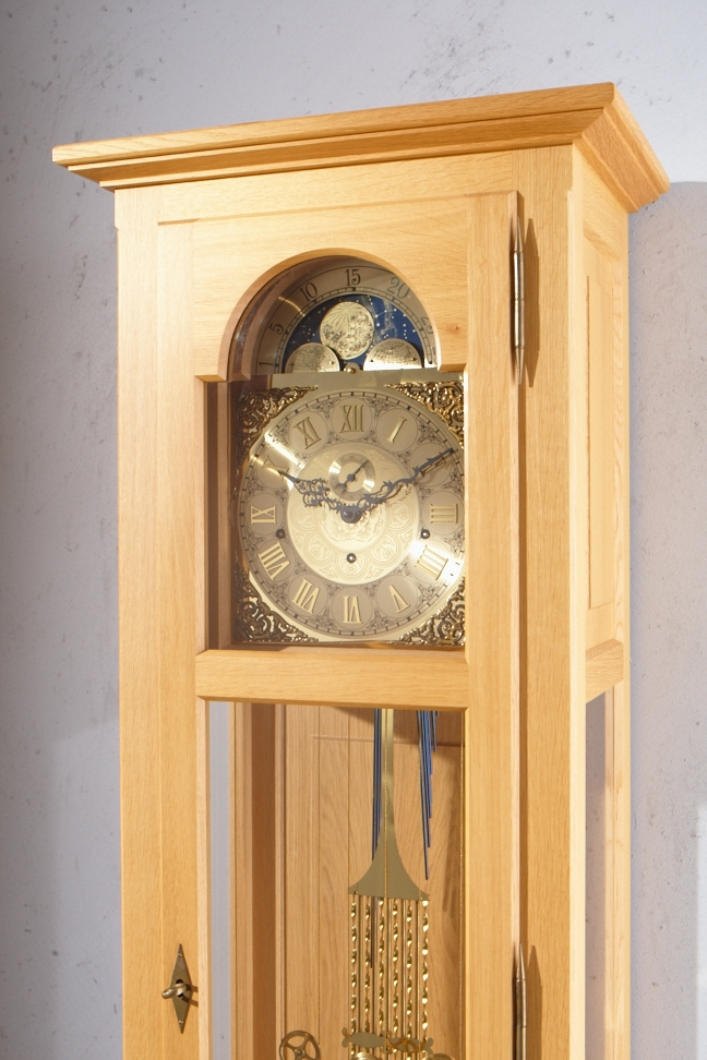 Handmade Modern German Grandfather Clock Of Solid Oak Lepper Germany